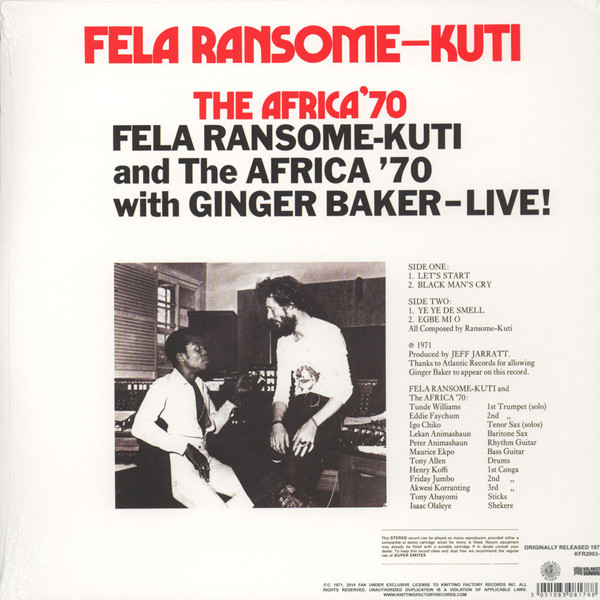 Fela Ransome-kuti And The Africa 70 With Ginger Baker LP