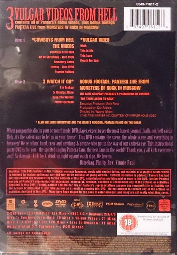 Pantera - 3 Vulgar Videos From Hell DVD