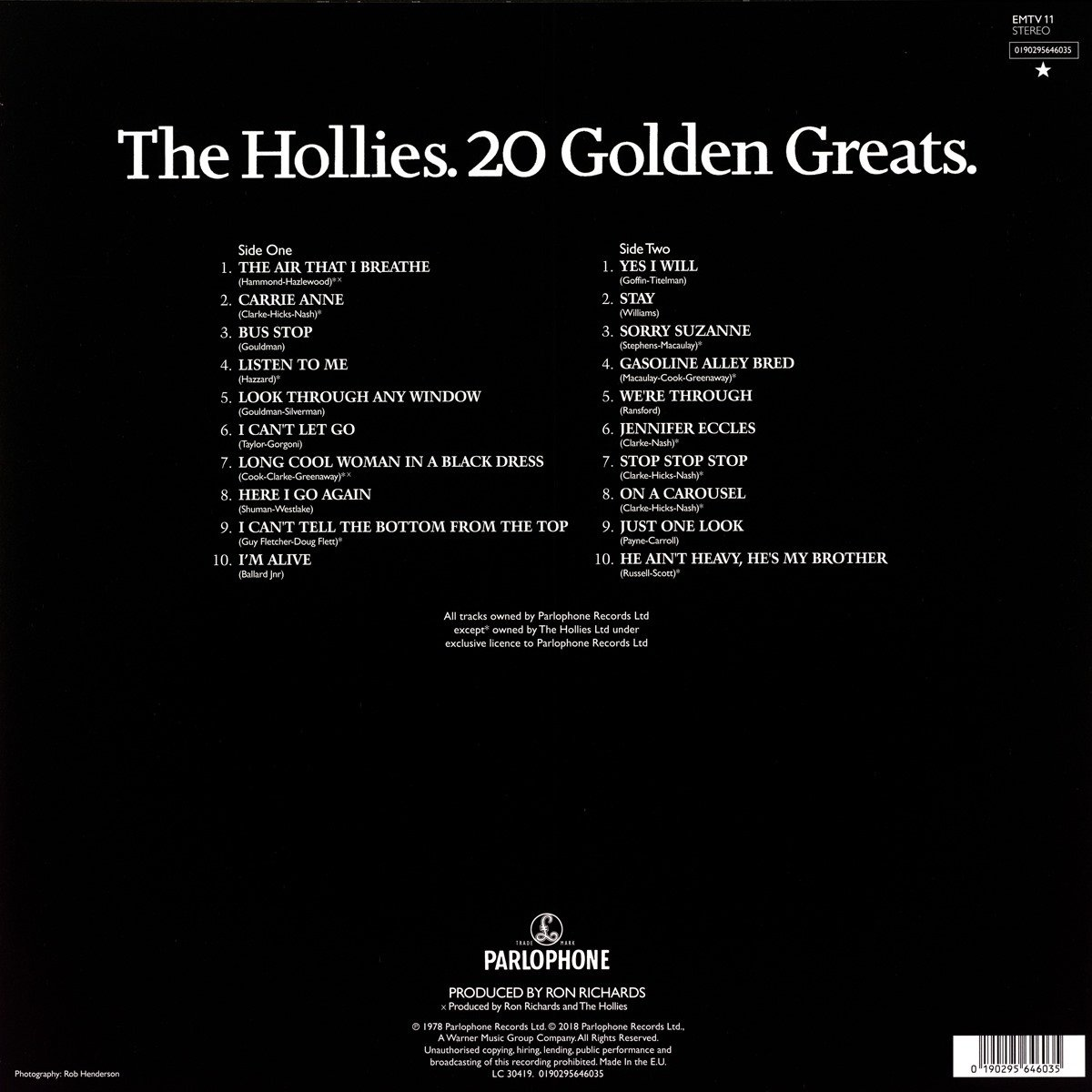 The Hollies - 20 Golden Greats. LP
