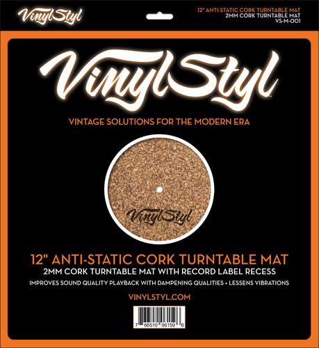 """Alfombra antiestática de corcho para tocadiscos Vinyl Styl 12"""""""
