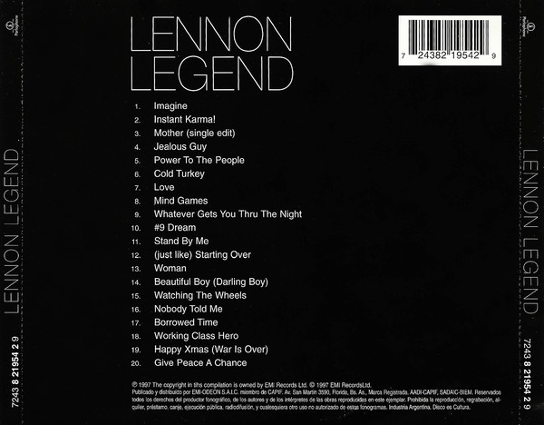John Lennon - Lennon Legend (The Very Best Of John Lennon) CD